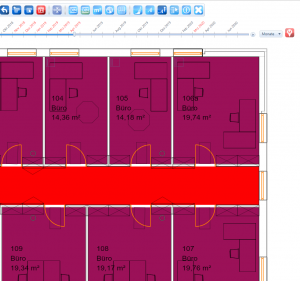 Coloured map on a date in April. A colour of a room changed due to different occupancy. speedikon C